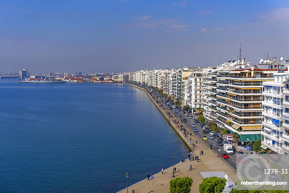 Thessaloniki, Greece panoramic view from the city's landmark The White Tower, of historic waterfront up to the port area.