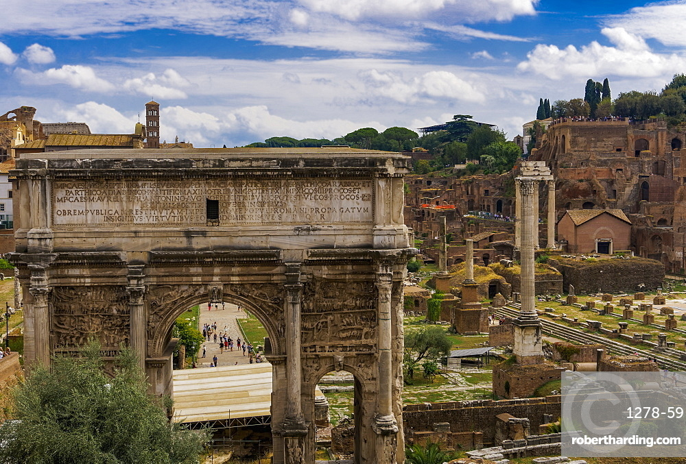 Panoramic view of surviving structures and the Arch of Septimius Severus in the Roman Forum, UNESCO World Heritage Site, Rome, Lazio, Italy, Europe
