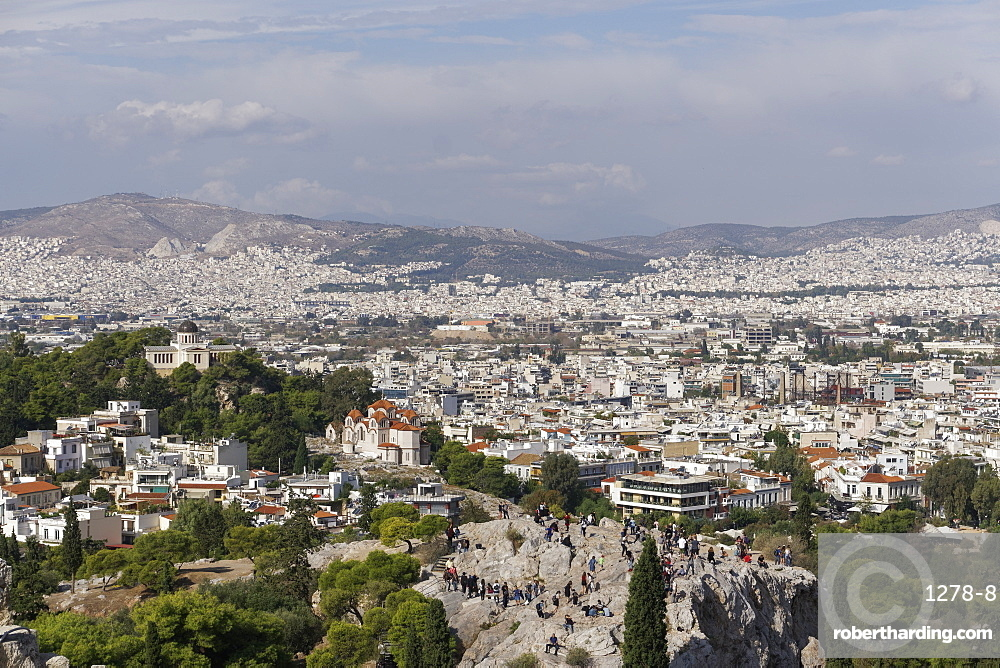 Areopagus Hill (Mars Hill), Ancient Supreme Court, view from Acropolis Hill, Athens, Greece, Europe
