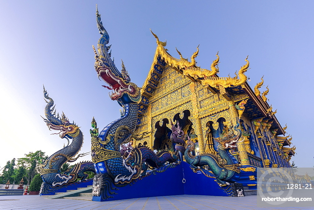 Exterior view of Wat Rong Suea Ten (Blue Temple) in Chiang Rai, Thailand, Southeast Asia, Asia