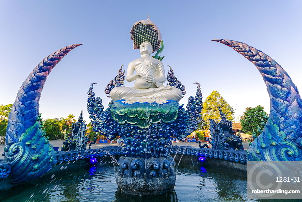 Fountain outside Wat Rong Suea Ten (Blue Temple) in Chiang Rai, Thailand, Southeast Asia, Asia