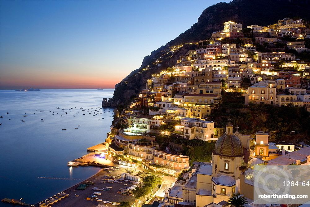 Sunset overlooking Positano on the Amalfi Coast, UNESCO World Heritage Site, Campania, Italy, Europe