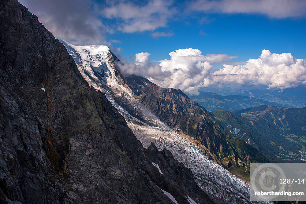 The Bossons Glacier one of the large glaciers of the Mont Blanc massif of the Alps, found in the Chamonix valley of Haute-Savoie