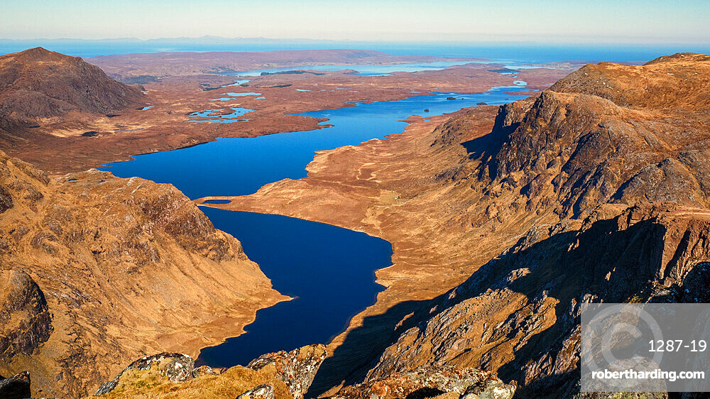Looking north from A' Mhaighdean one of the remotest Scottish Munros and one of the finest viewpoints in Britain, Highlands, Scotland, United Kingdom, Europe