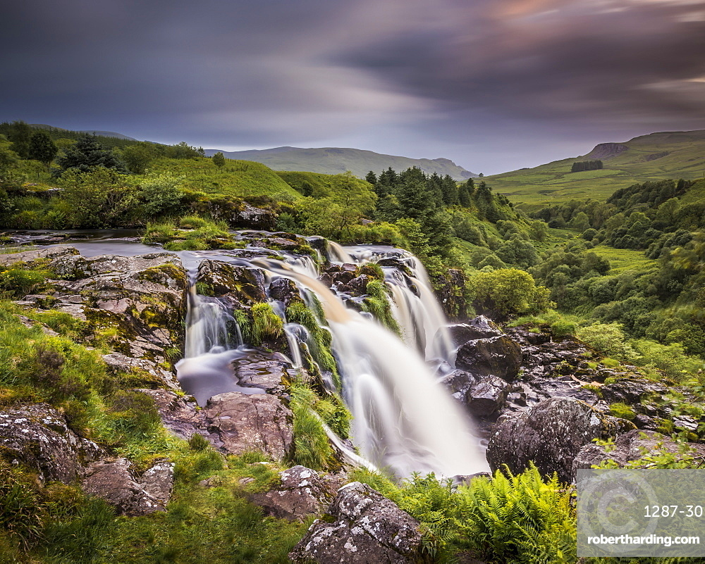 Sunset at the Loup o Fintry waterfall near the village of Fintry, Stirlingshire, Scotland, United Kingdom, Europe