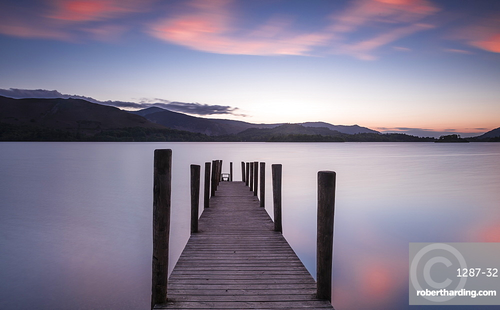 Ferry landing stage on Derwent water at sunset near Ashness Bridge in Borrowdale, in the English Lake District
