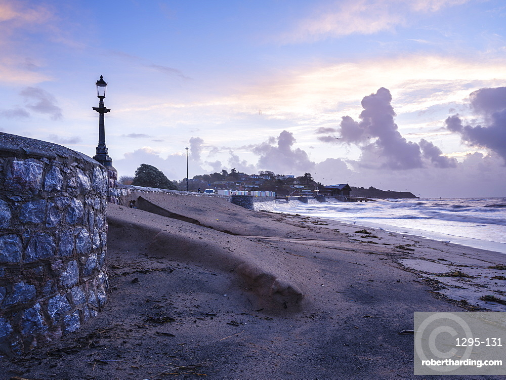 The morning after a heavy storm, showing the accumulation of sand through wind and wave action, Exmouth, Devon, UK