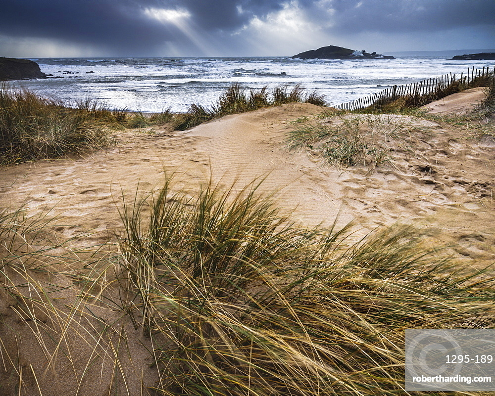 The beach at Bantham during a storm, near Kingsbridge, Devon, UK