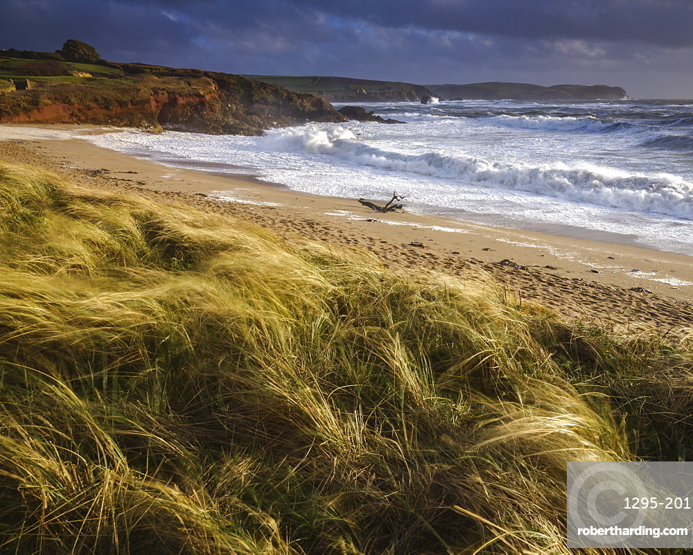 The beach at Thurlestone during a storm, near Kingsbridge, Devon, UK