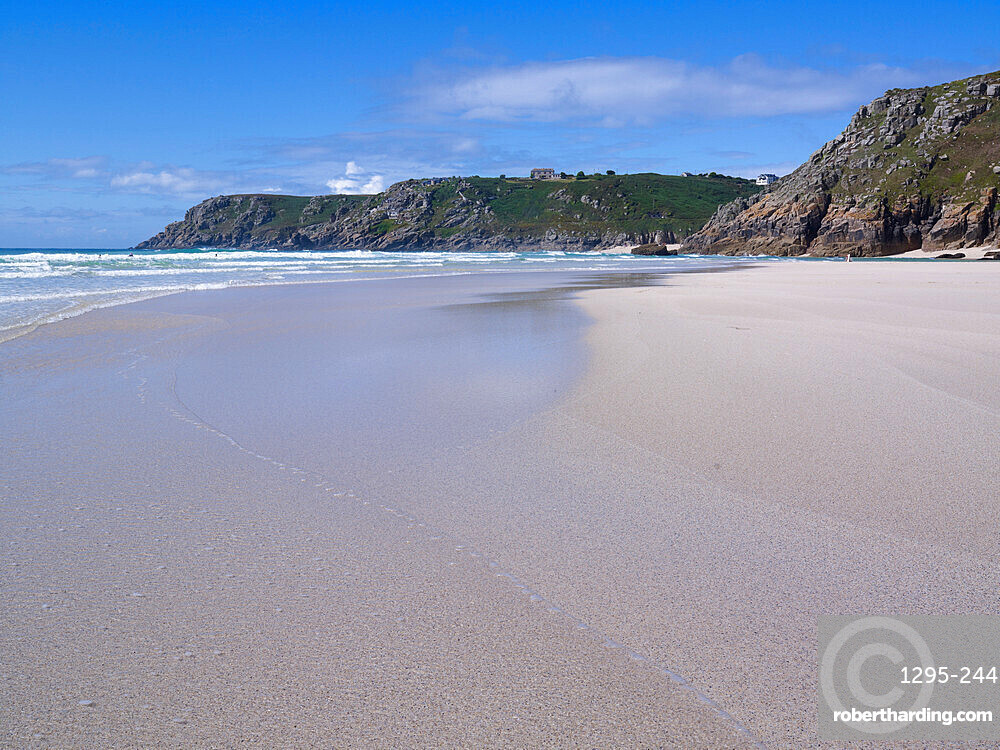 The beautiful & secluded beach at Pedn Vounder overlooks Logan Rock, near Porthcurno, Cornwall, UK