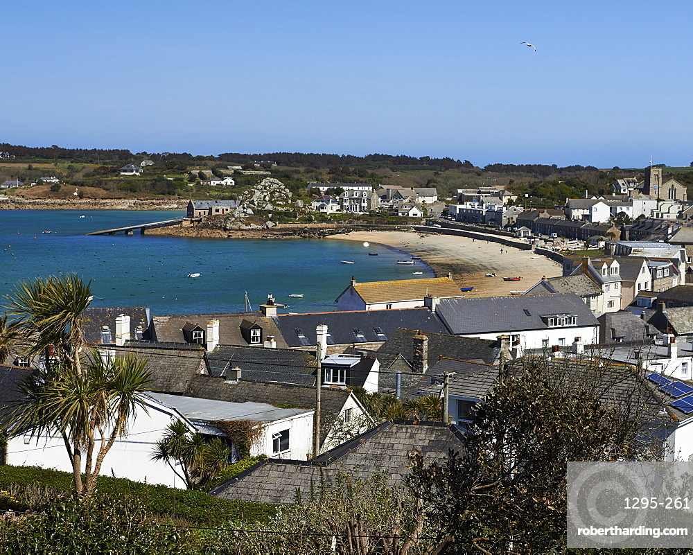 A sunny day over the rooftops of Hugh Town, St. Mary's, Isles of Scilly, England, United Kingdom, Europe