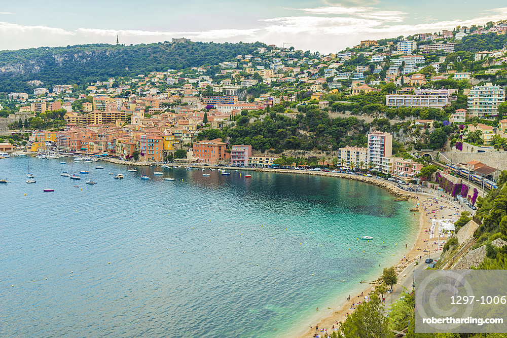 Elevated view over Villefranche sur Mer, Alpes Maritimes, Provence, Cote d'Azur, French Riviera, France, Europe