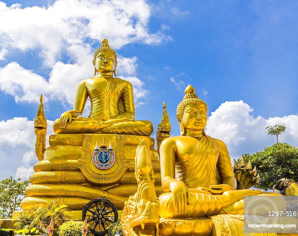 The Golden Buddha statue at the Big Buddha complex (The Great Buddha) in Phuket, Thailand, Southeast Asia, Asia