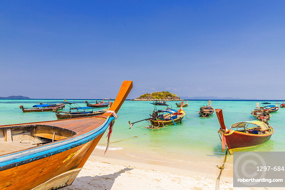 Longtail boats on Sunrise Beach on Ko Lipe in Tarutao National Marine Park, Thailand, Southeast Asia, Asia