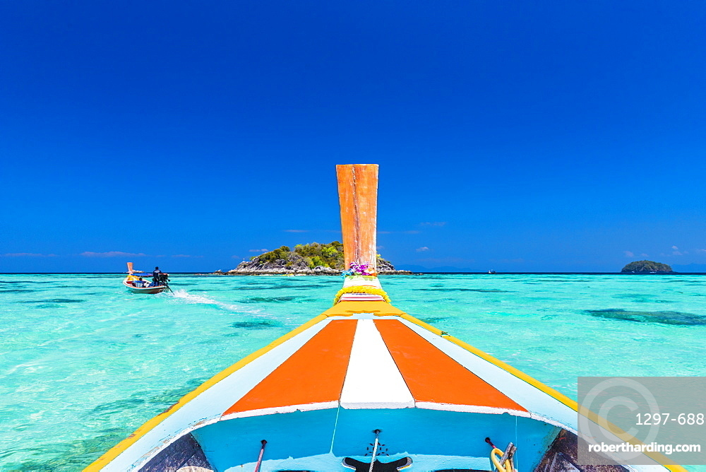 A colourful long tail boat on Ko Lipe Island in Tarutao National Marine Park, Thailand, Southeast Asia, Asia