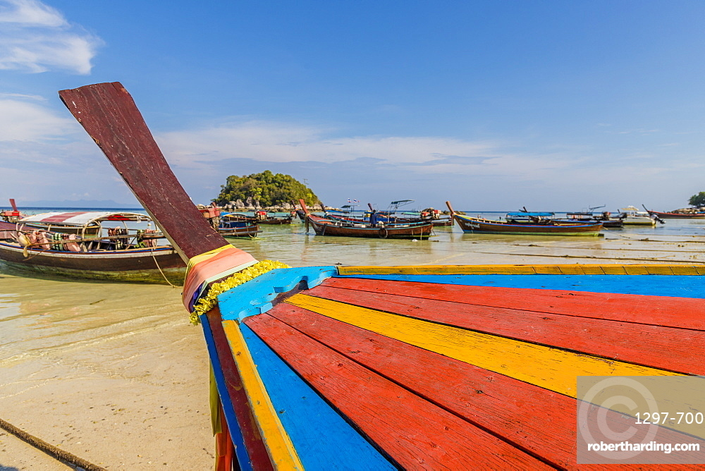 Colourful long tail boat in Ko Lipe, in Tarutao National Marine Park, Thailand, Southeast Asia, Asia