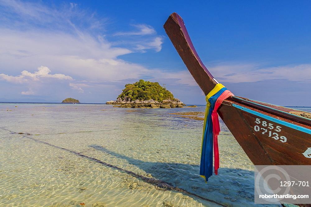 Long tail boat in Ko Lipe, in Tarutao National Marine Park, Thailand, Southeast Asia, Asia