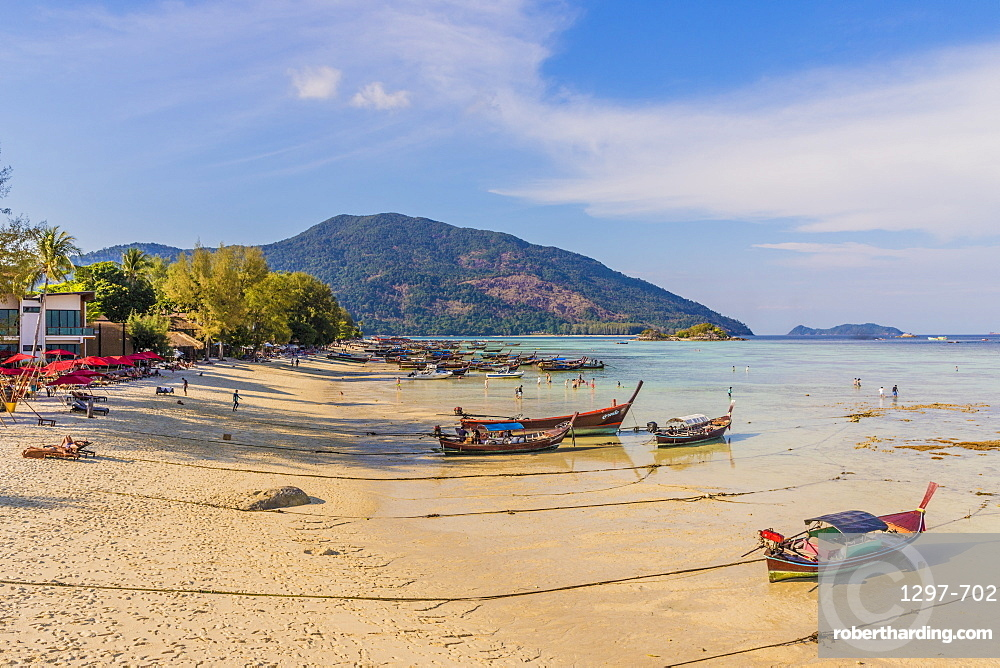 Long tail boats in Ko Lipe, in Tarutao National Marine Park, Thailand, Southeast Asia, Asia