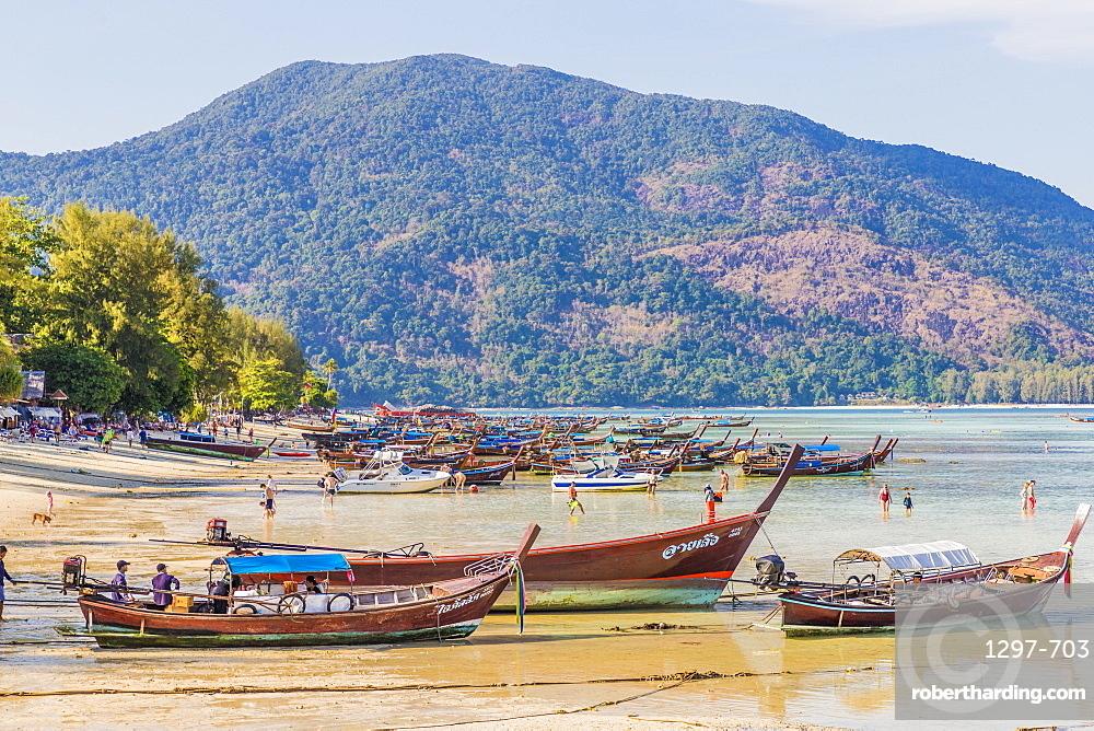Long tail boats in Ko Lipe, in Tarutao National Marine Park, Thailand, Southeast Asia, Asia