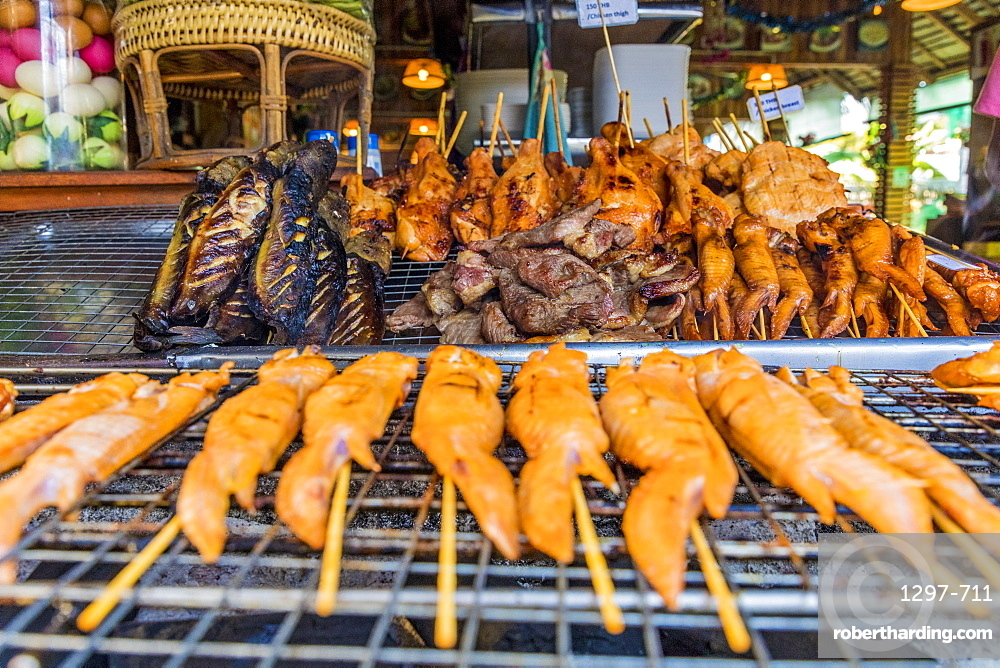 A barbeque meat stall in Ko Lipe, Tarutao National Marine Park, Thailand, Southeast Asia, Asia