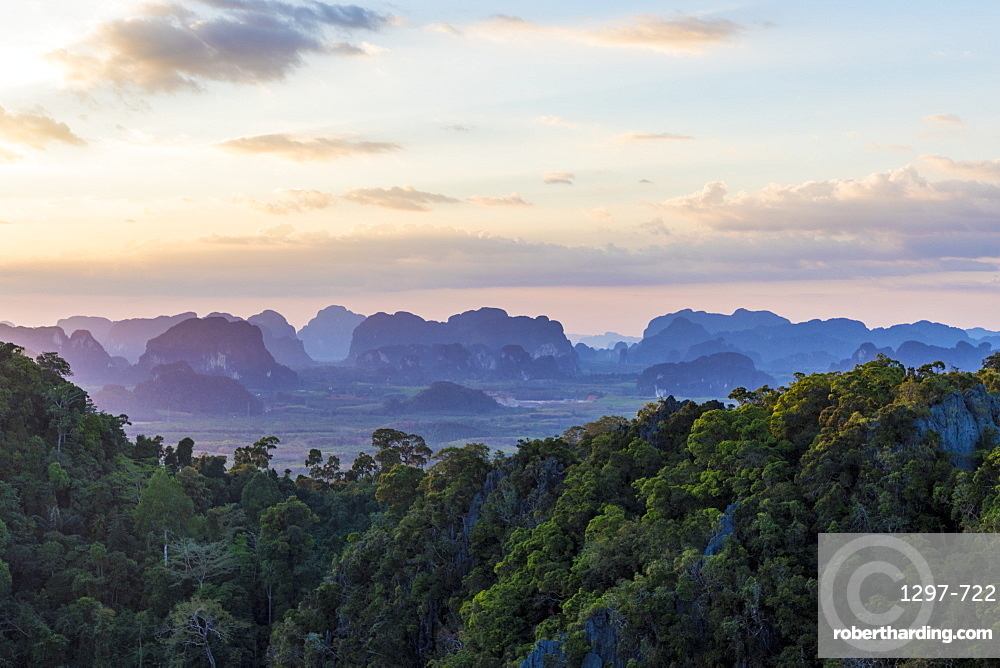 Views over Krabi from the Tiger Temple cave in Krabi, Thailand, Southeast Asia, Asia.