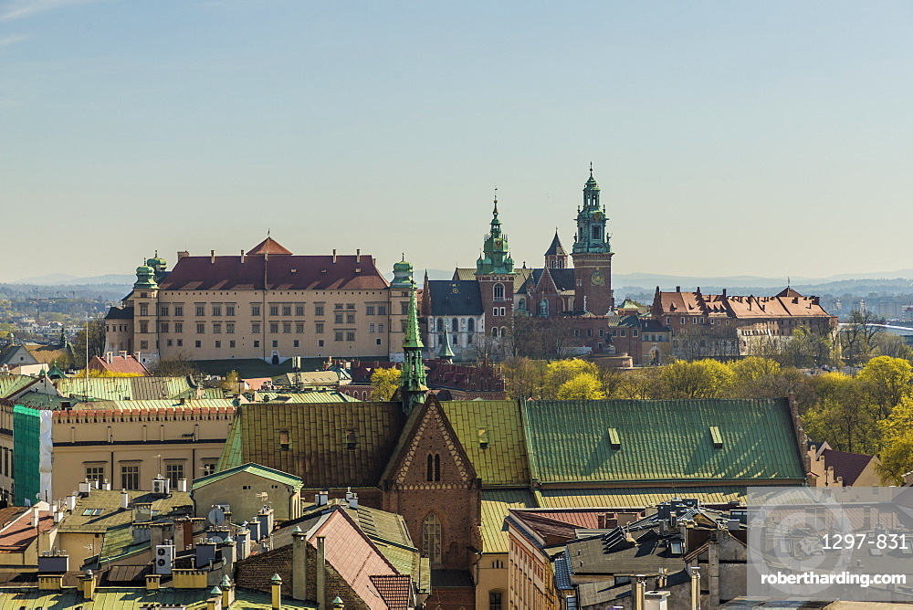 Aerial view of Wawel Castle and cathedral and the medieval old town, a UNESCO world Heritage site, in Krakow, Poland, Europe.