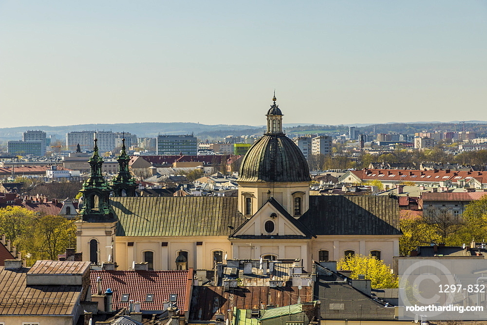 Aerial view of the Church of St Peter and St Paul and the medieval old town, a UNESCO world site, in Krakow, Poland, Europe.