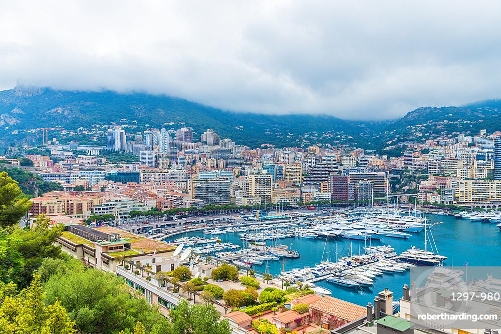 A view over the Monte Carlo port, Port Hercule in Monte Carlo, Monaco, Cote d Azur, French Riviera, Mediterranean France, Europe