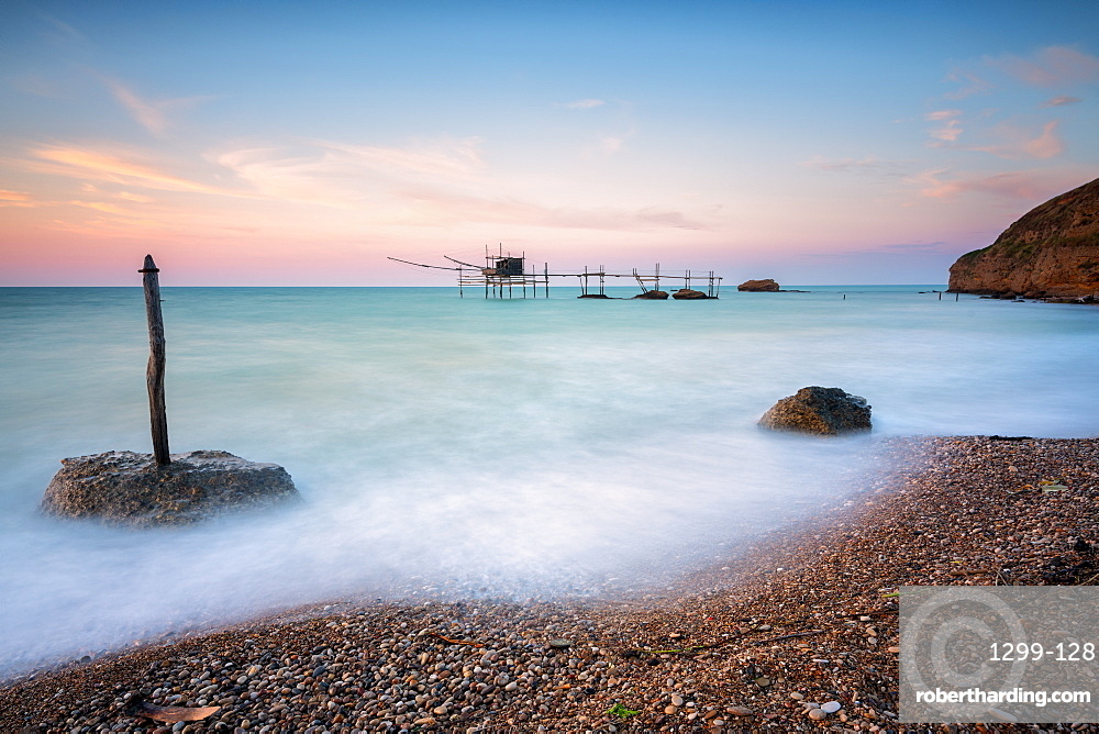 Costa dei Trabocchi national park at dawn, Vasto, Punta Aderici, Marche, Italy