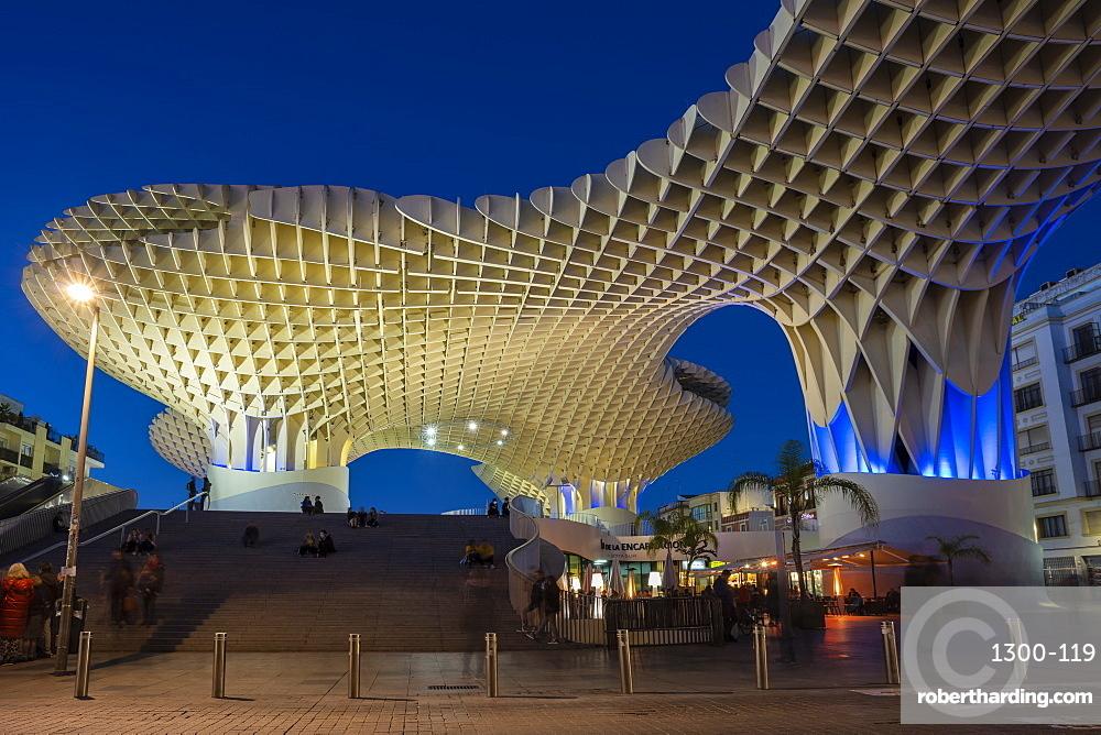 La Setas de Sevilla, Metropol Parasol is a wooden structure located at La Encarnacion square at sunset, Seville, Andalucia, Spain, Europe