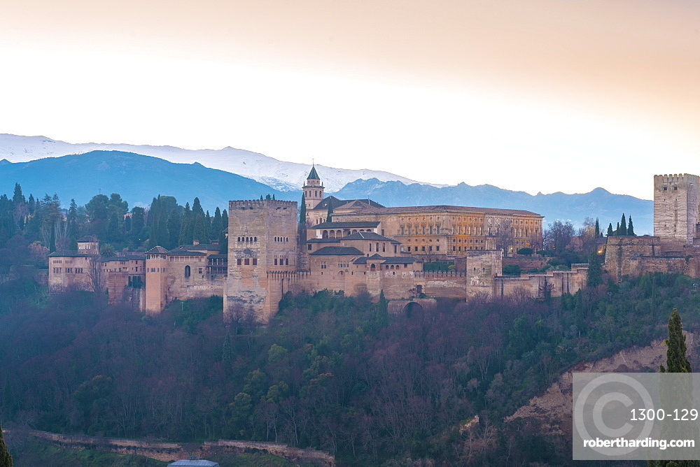 View of the Alhambra at sunrise, UNESCO World Heritage Site, from Albaicin area, Granada, Andalucia, Spain, Europe