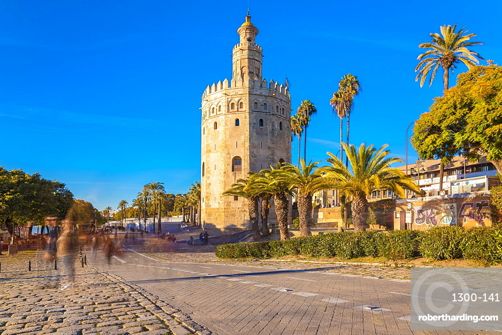 Torre del oro or the golden tower in the afternoon. The a dodecagonal military watchtower in Seville, southern Spain.