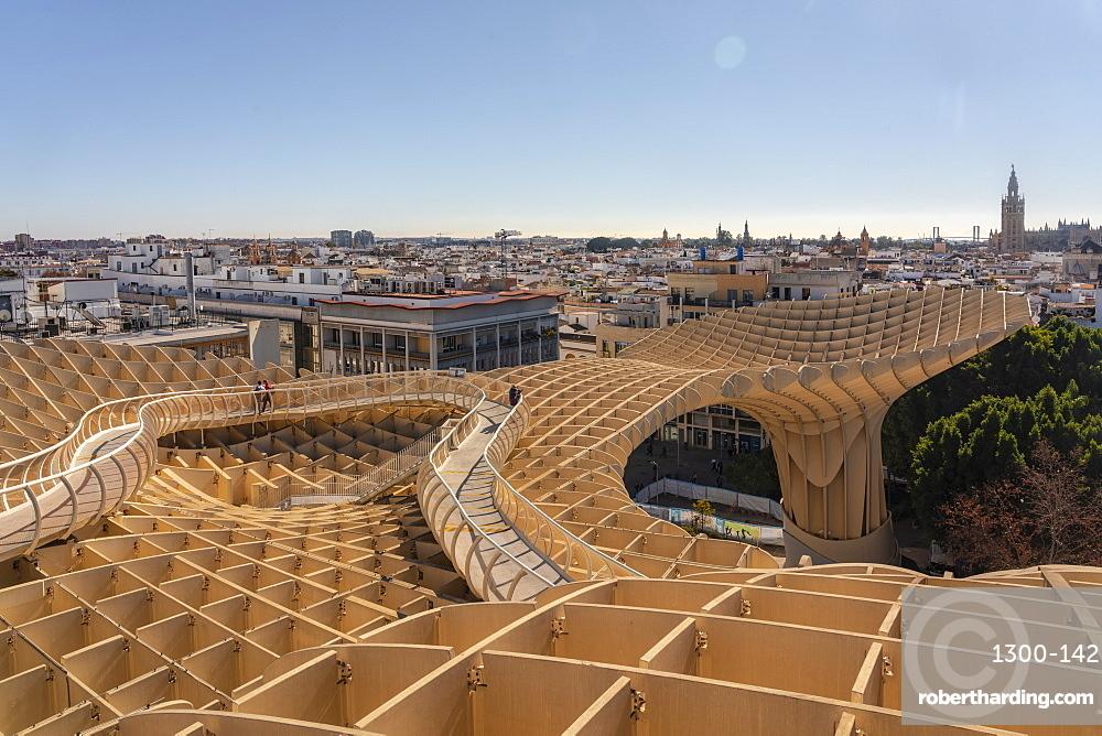 Setas de Sevilla, Metropol Parasol a huge wooden modern architecture structure with Seville historic buildings in the background