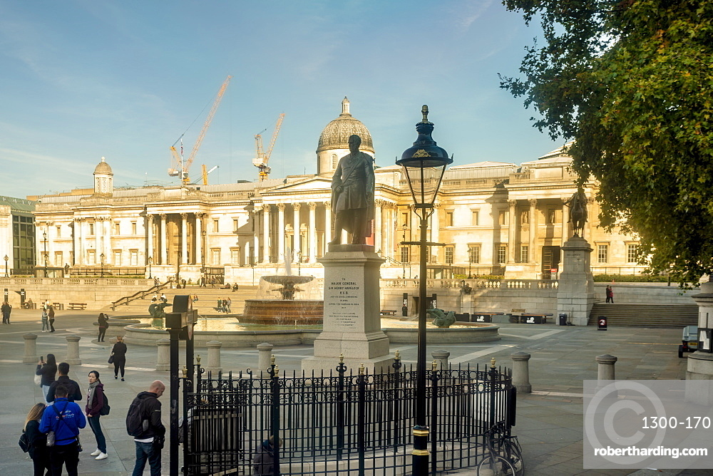 Trafalgar Square with sir henry havelock statue in the morning