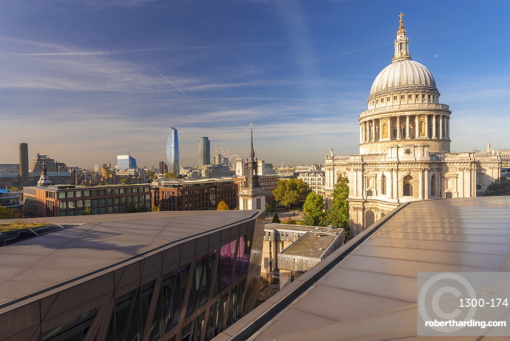 Skyline of London seen from One New Change, city of London with St. Paul's Cathedral seen from above