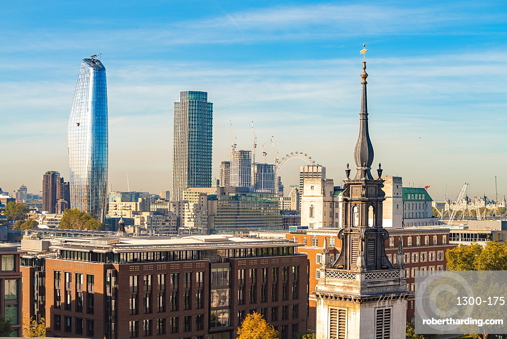 Skyline of London seen from One New Change, city of London with the London Eye and oxo tower and One Blackfriars at the Bankside