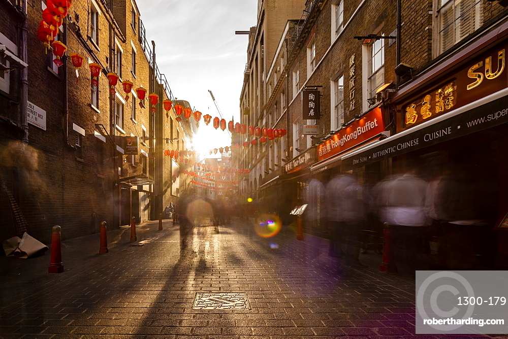 Long exposure of Lisle Street, Chinatown in the afternoon near Piccadilly Circus, London, England, United Kingdom, Europe