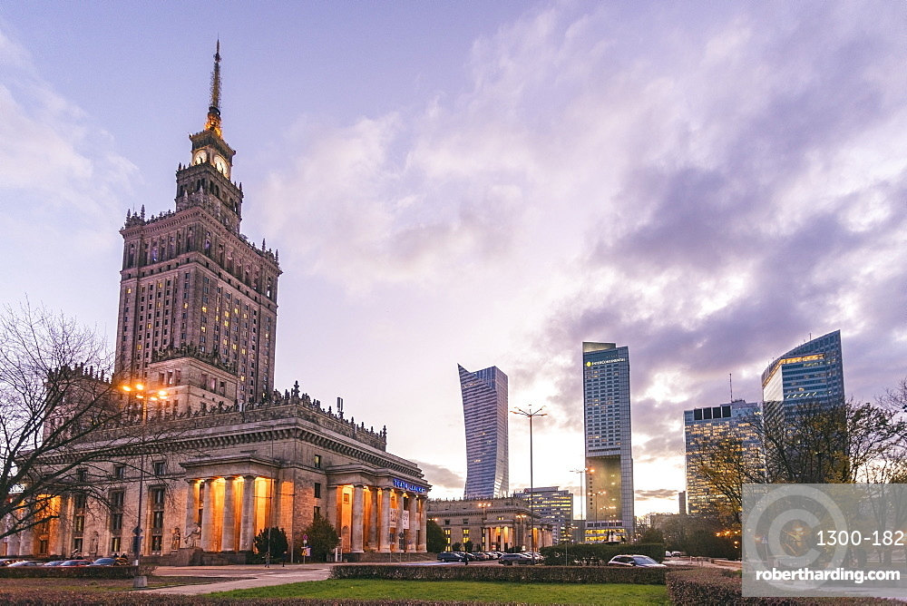 Palace of Culture and SciencePałac Kultury i Nauki with the modern towers at the downtown of Warsaw
