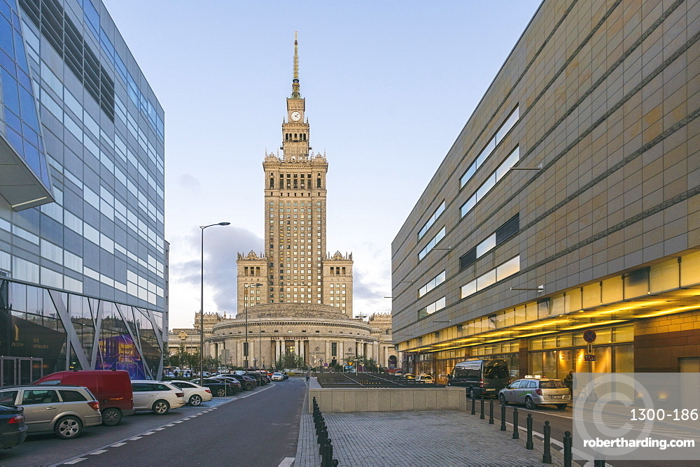 Palace of Culture and Science, Pałac Kultury i Nauki, built in the 1950's at the downtown district