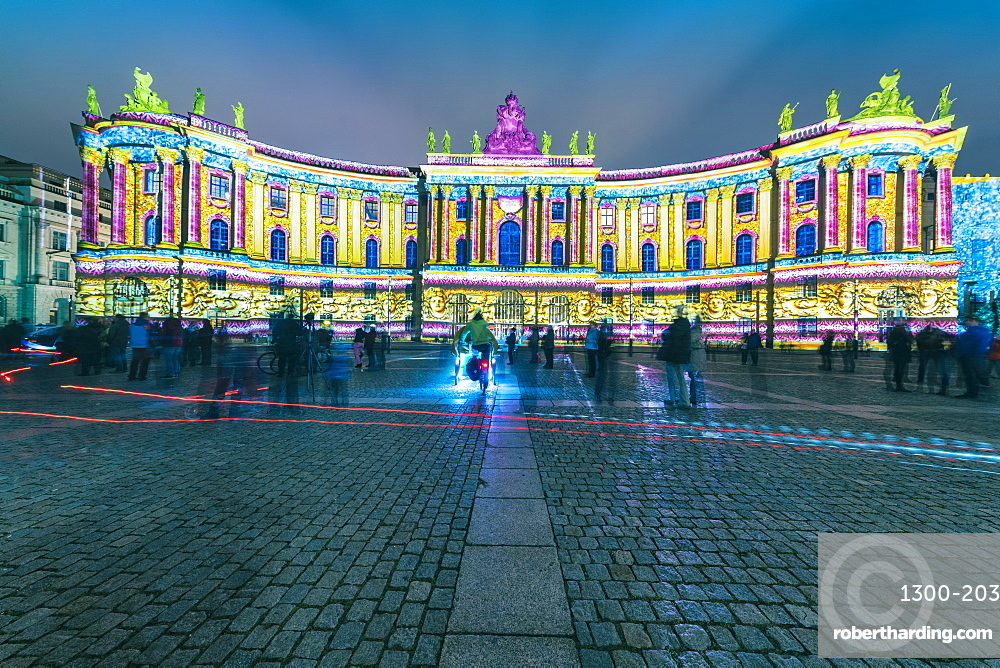 The historic building of the faculty of Law, Humboldt university illuminated at night in Mitte