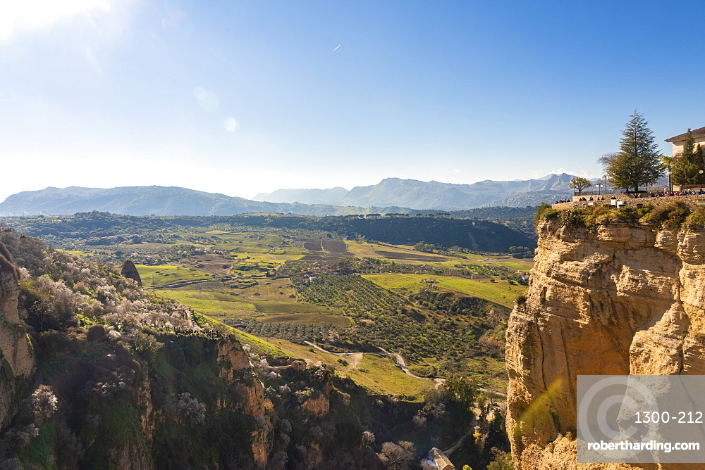 El Tajo Gorge with green landscape of the surrondings in the background