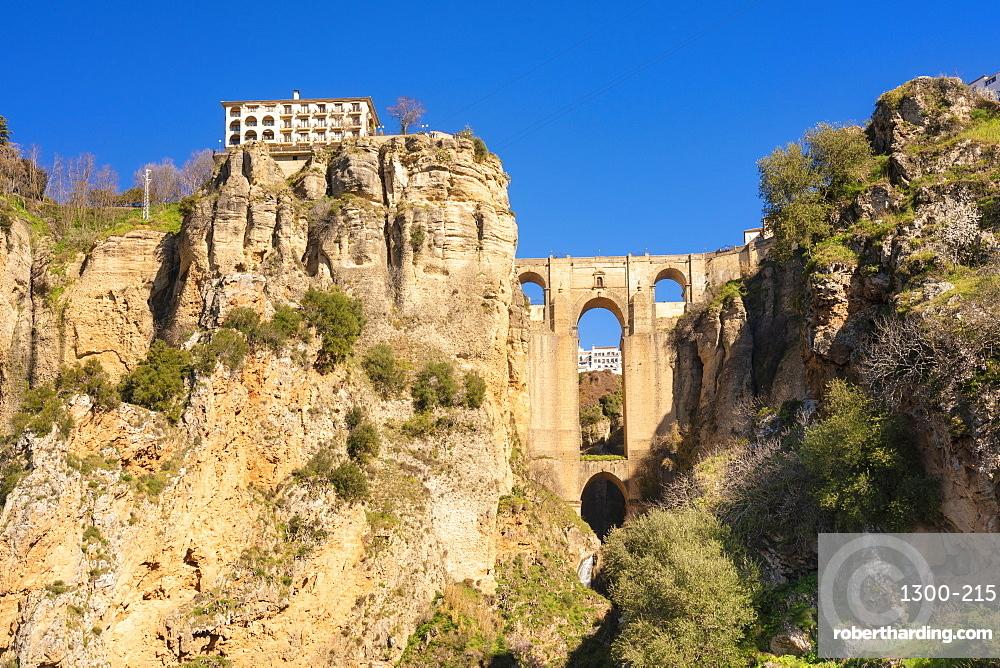 Puente Nuevo Ronda, el Tajo de Ronda in winter in a sunny day