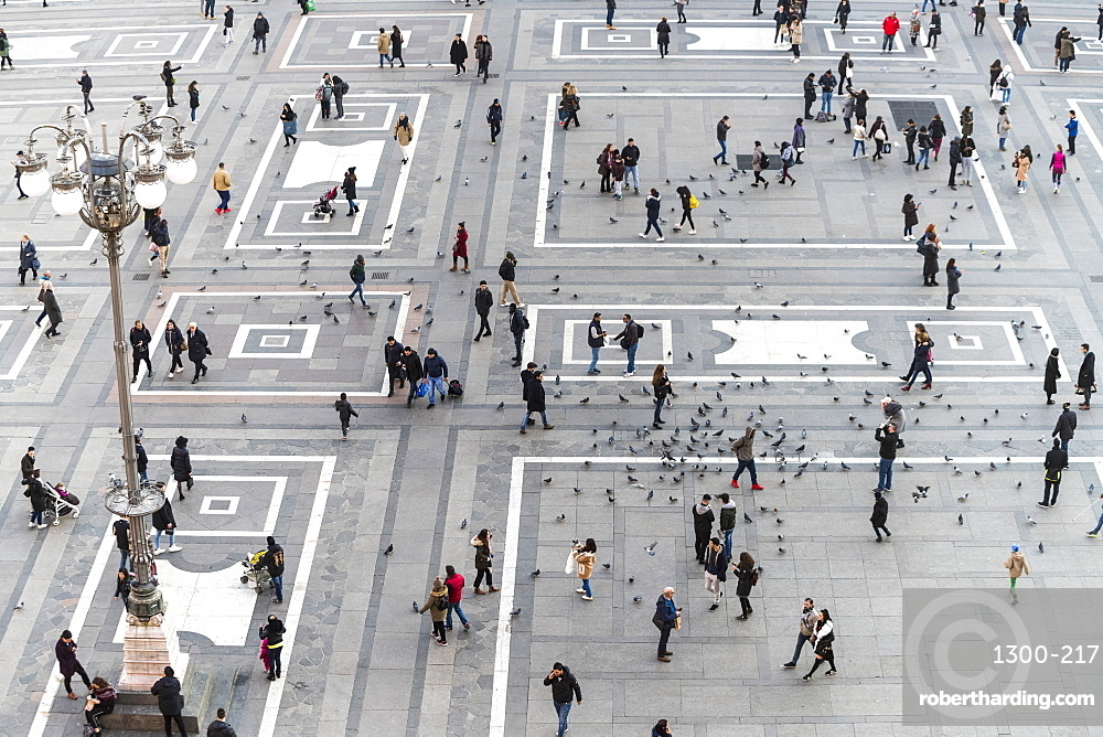 the Cathedral Square (Doumo) in Milan seen from the Galleria Vittorio Emanuele II