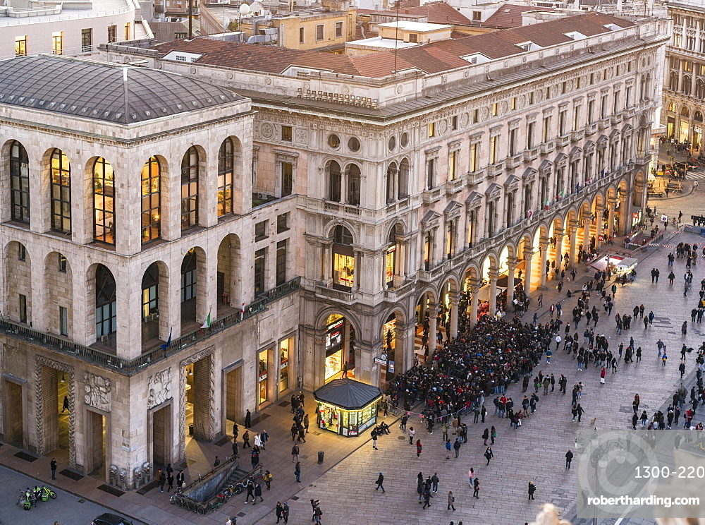 View of the buidlings at the Cathedral square in Milan