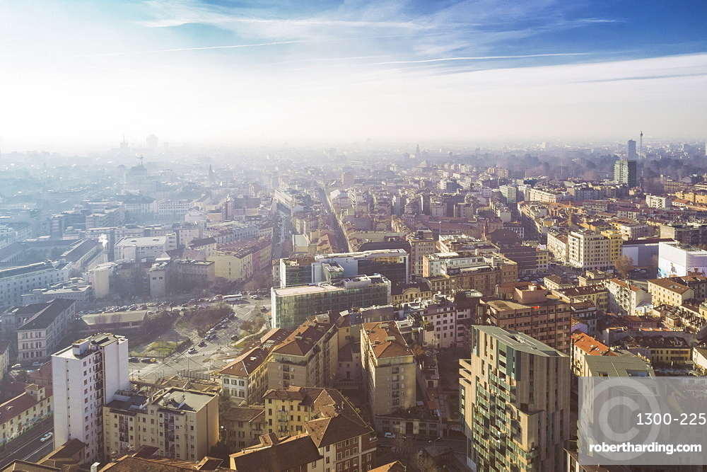 Aerial view of the business district in Milan
