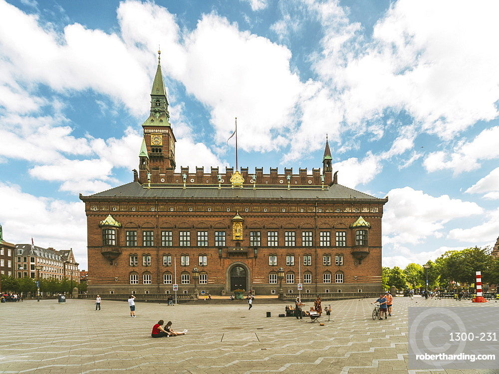 Copenhagen City Hall in summer with blue sky and clouds