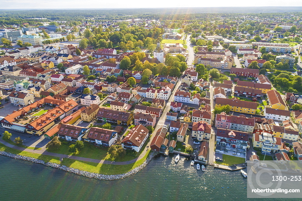Aerial view of the old city of Västervik in summer