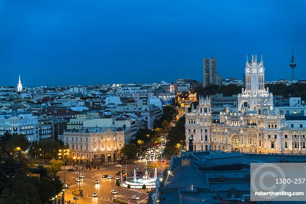Fuente de Cibeles square symbolic Gothic palace & fountain, now Madrid's City Hall.