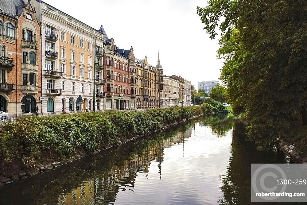 Drottninggatan street by Sodra Forstadskanalen, Malmo, Skane, Sweden, Scandinavia, Europe