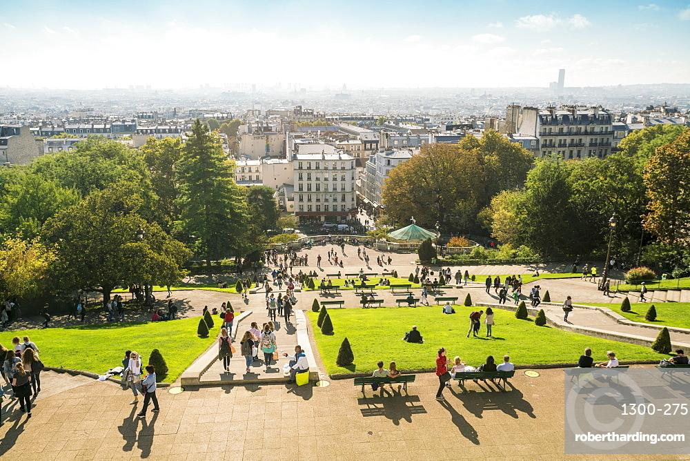 View from Sacre Coeur towards the city, Montmartre, Paris, France, Europe